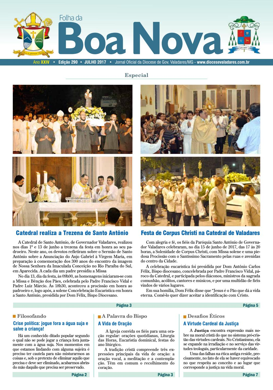 e6e7c0dc0ef7 Folha da Boa Nova Edição Julho 2017 by Dicoese de Governador Valadares -  issuu