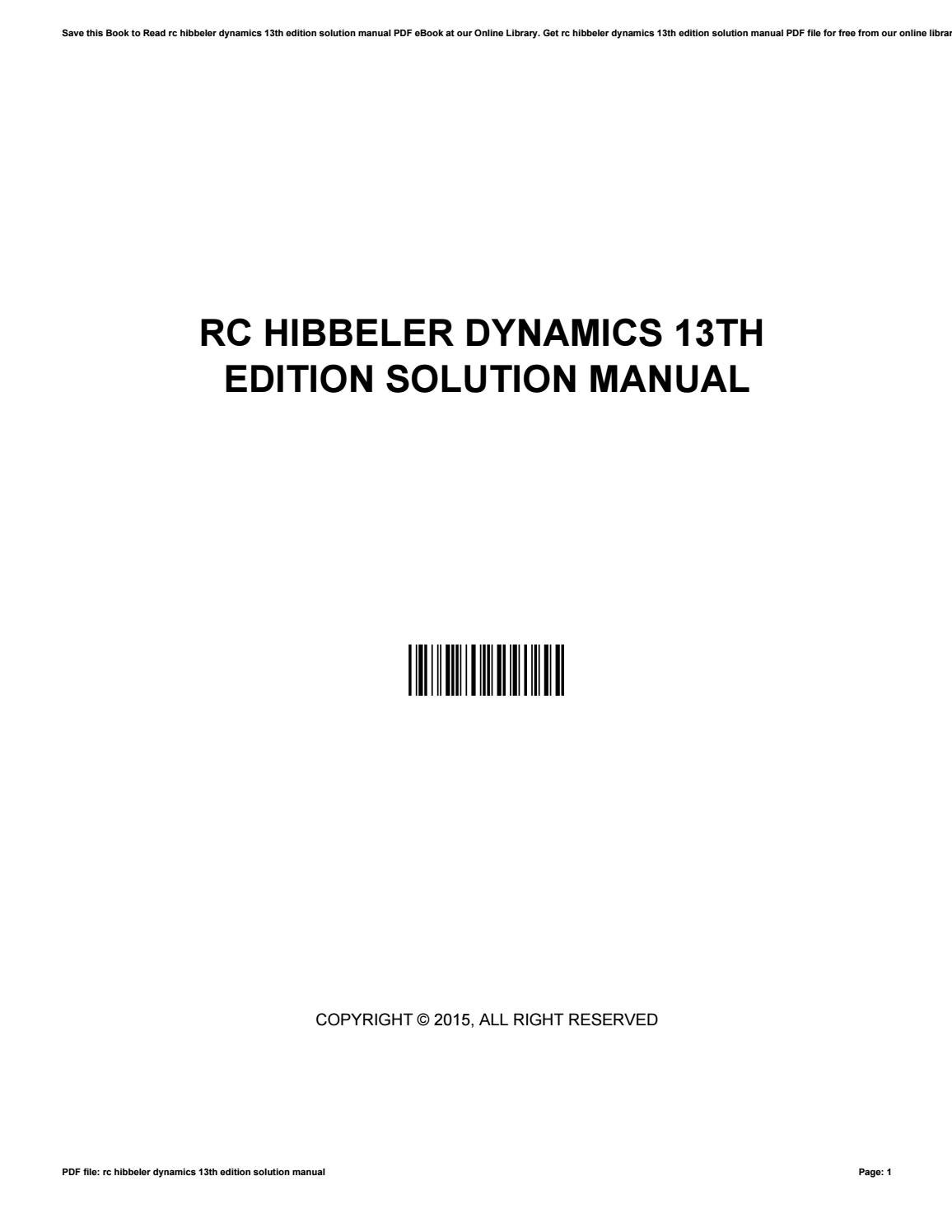 Rc hibbeler dynamics 13th edition solution manual by christina issuu baditri Gallery