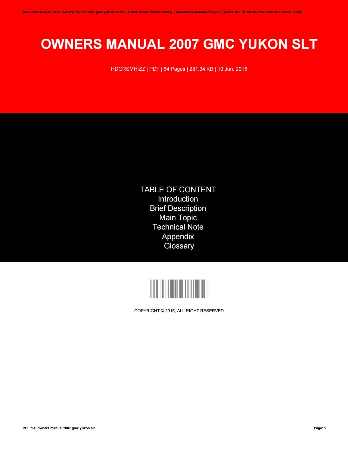 2007 yukon denali service manual