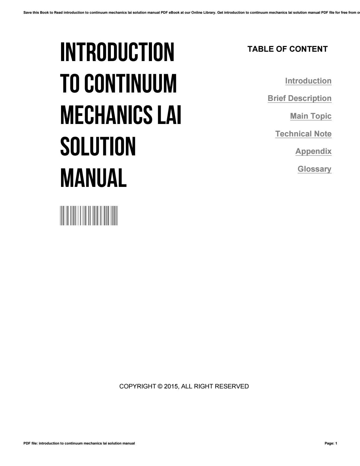 Introduction to continuum mechanics lai solution manual by  FrancesHammond1250 - issuu