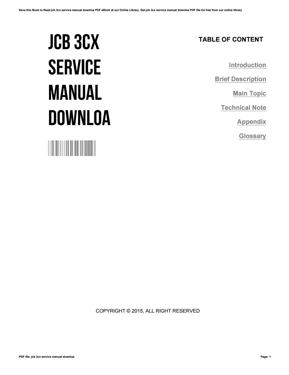 Jcb 3cx service manual downloa by nancymarcello3709 - issuu