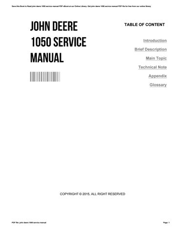 Service manual for john deere 1050 tractor parts operators owners.