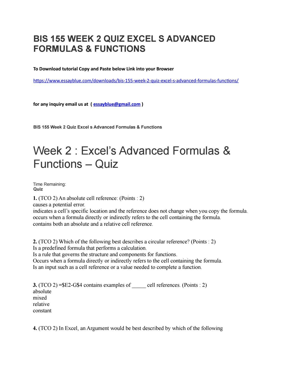 Bis 200 week 20 quiz excel s advanced formulas & functions by ...