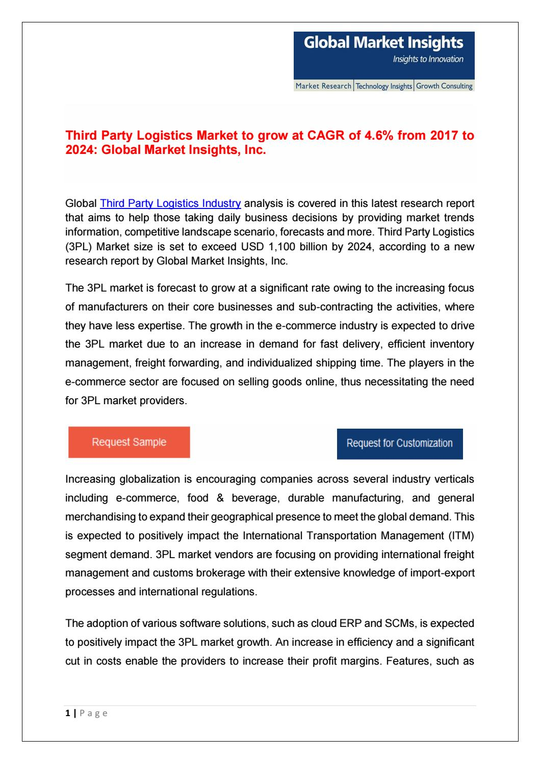 Global Third Party Logistics Market Trends Analysis Ppt