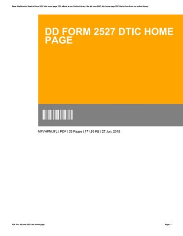 Dd Form 2527 Dtic Home Page By Cynthiaflood1660 Issuu