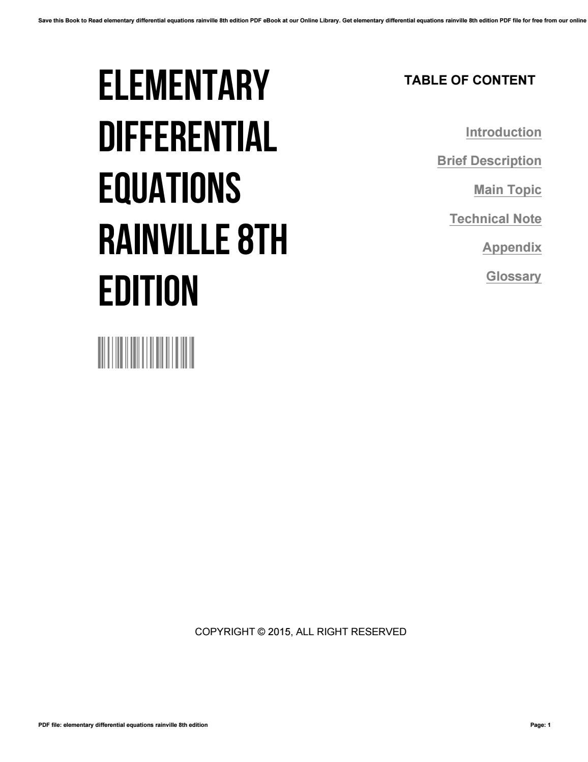 Elementary differential equations rainville 8th edition by PokGeer1280 -  issuu