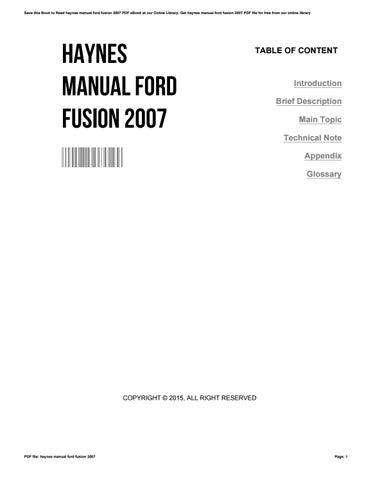 ford fusion 2007 manual