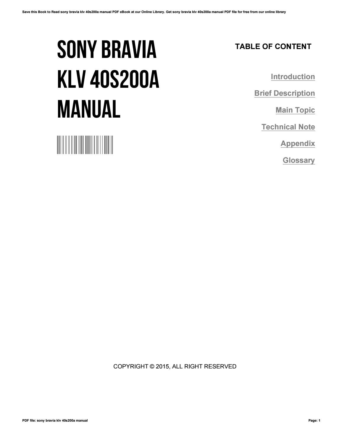 Sony Tv Manuals Online 2015 Ford Escape Wiring Cdc35 Array Bravia Klv 40s200a Manual By Patriciakelly2273 Issuu Rh