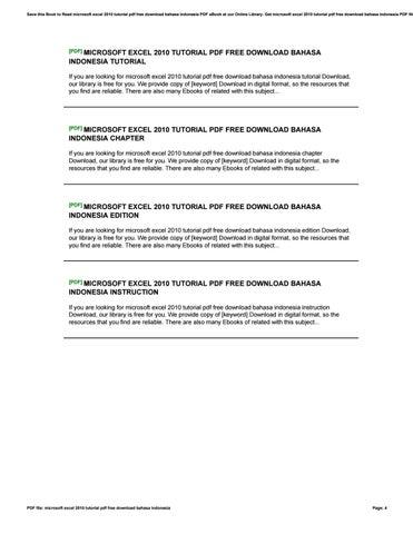 Microsoft excel 2010 tutorial pdf free download bahasa