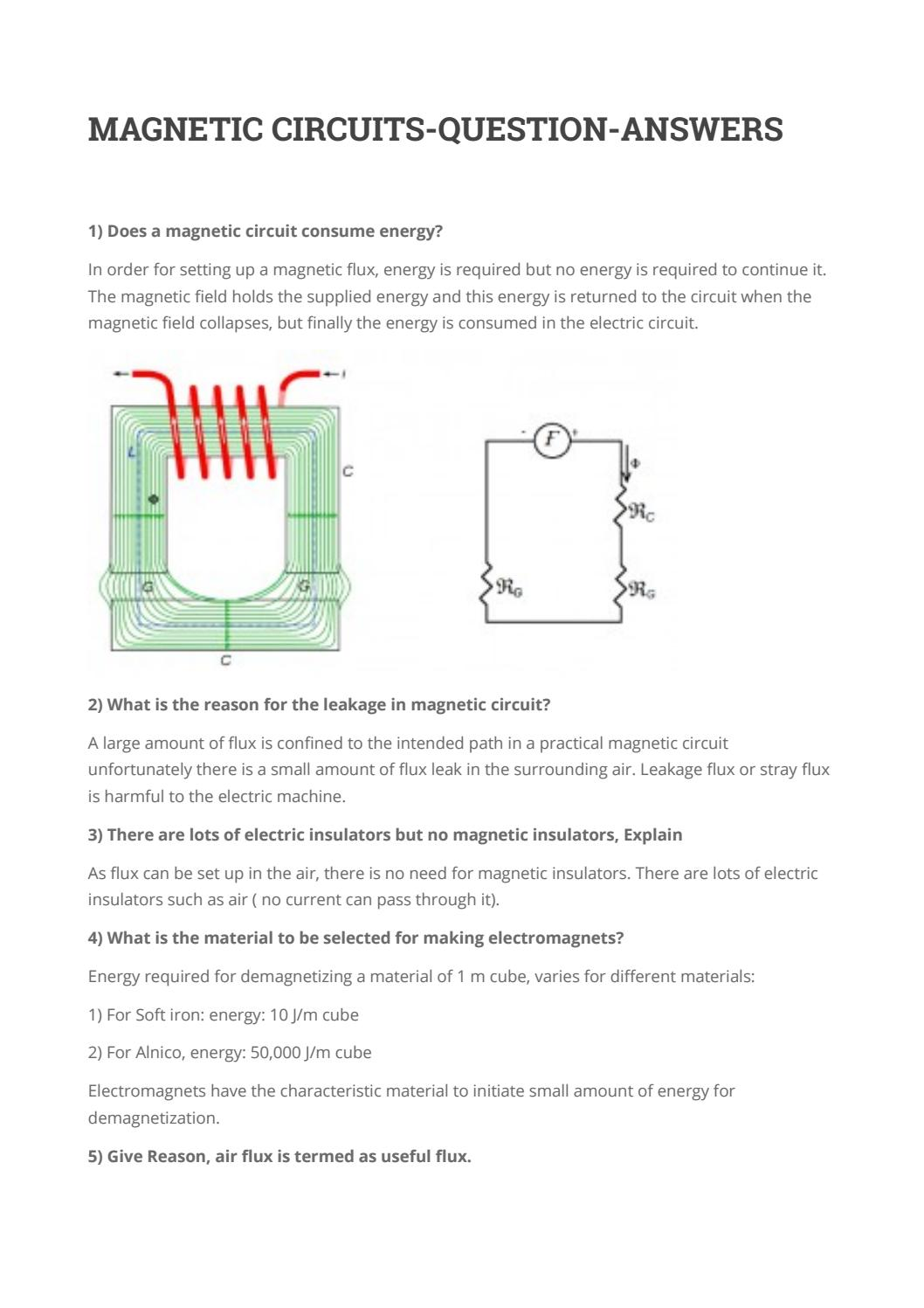 Magnetic circuits question answers by deepika - issuu