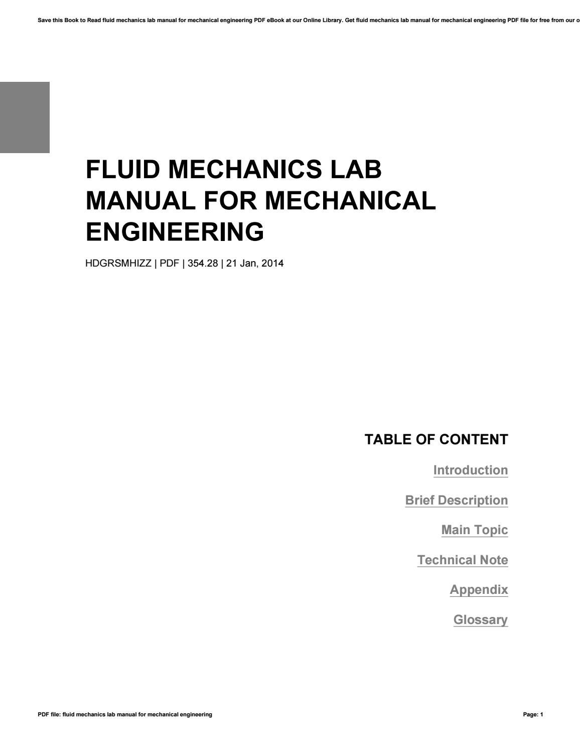 Fluid mechanics lab manual for mechanical engineering by LoisBurchette4023  - issuu