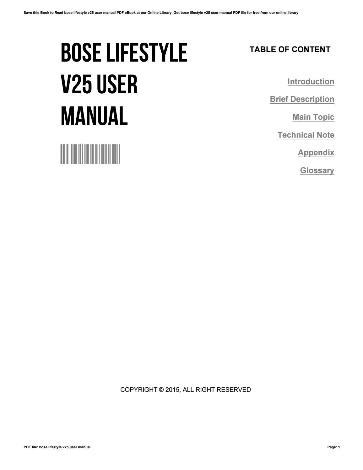 Bose lifestyle v25 manual download.