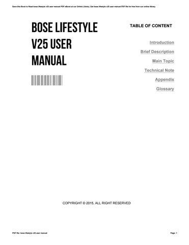 Bose v35, v25 user manual.