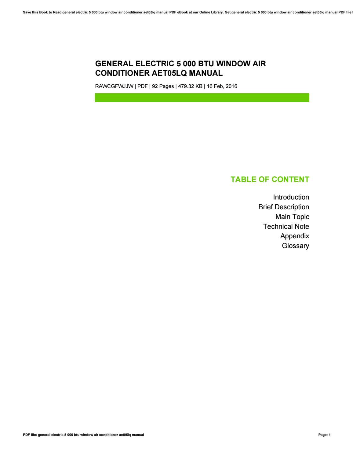 General electric 5 000 btu window air conditioner aet05lq manual by  JohnCaldera4058 - issuu