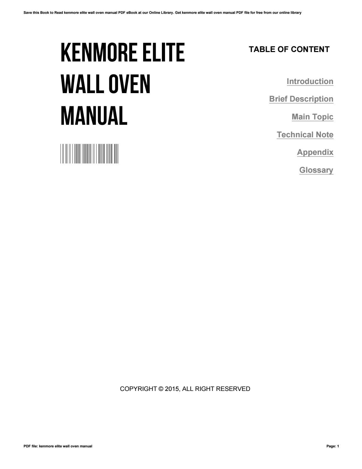 Kenmore Elite Wall Oven Manual By Maureenhillman3843 Issuu