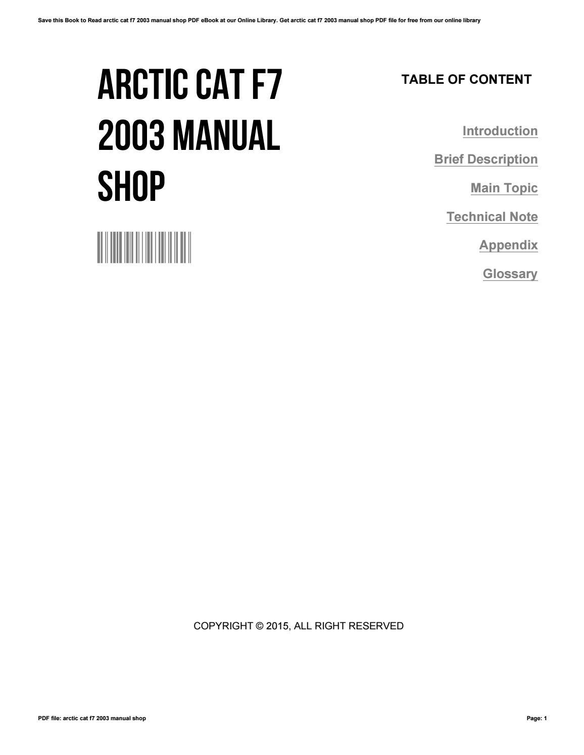 Arctic Cat F7 2003 Manual Shop By Maureenhillman3843 Issuu