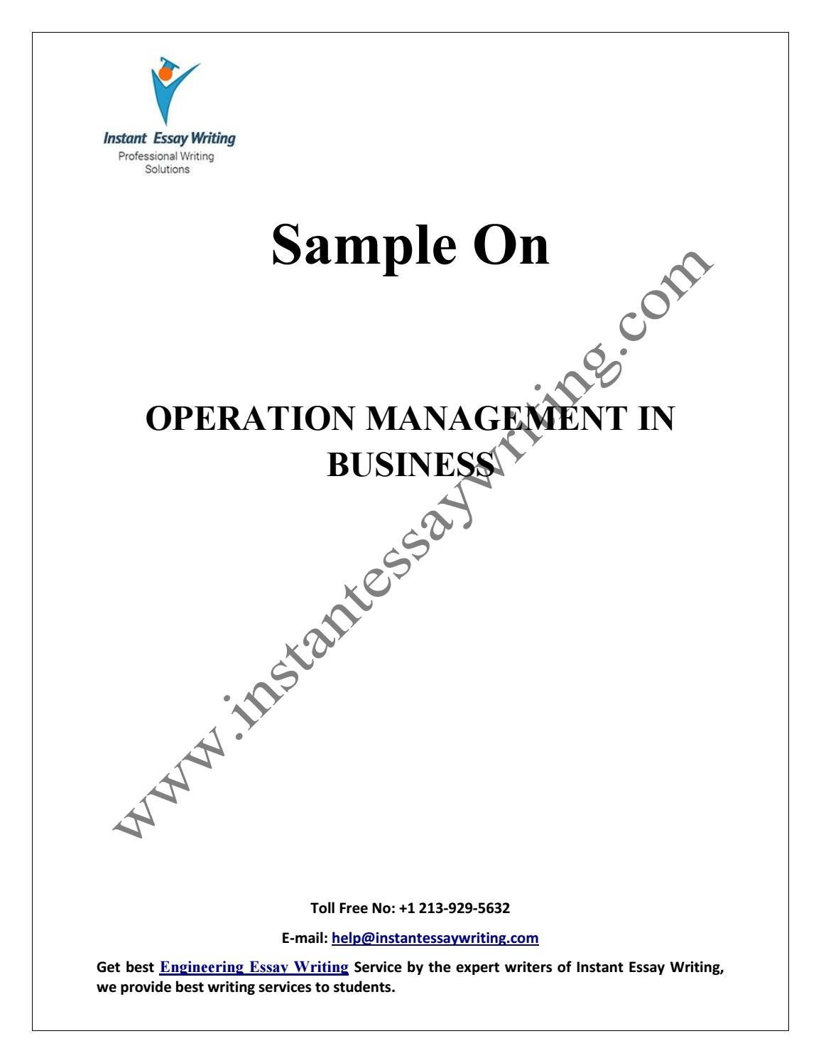 sample on operation management in business by instant essay  sample on operation management in business by instant essay writing by instant essay writing issuu