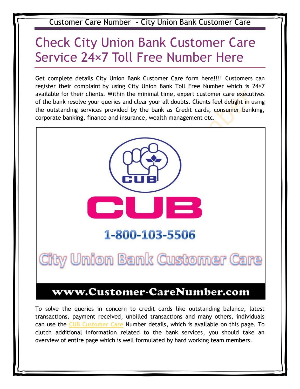 City Union Bank Customer Care by customercarenum - issuu