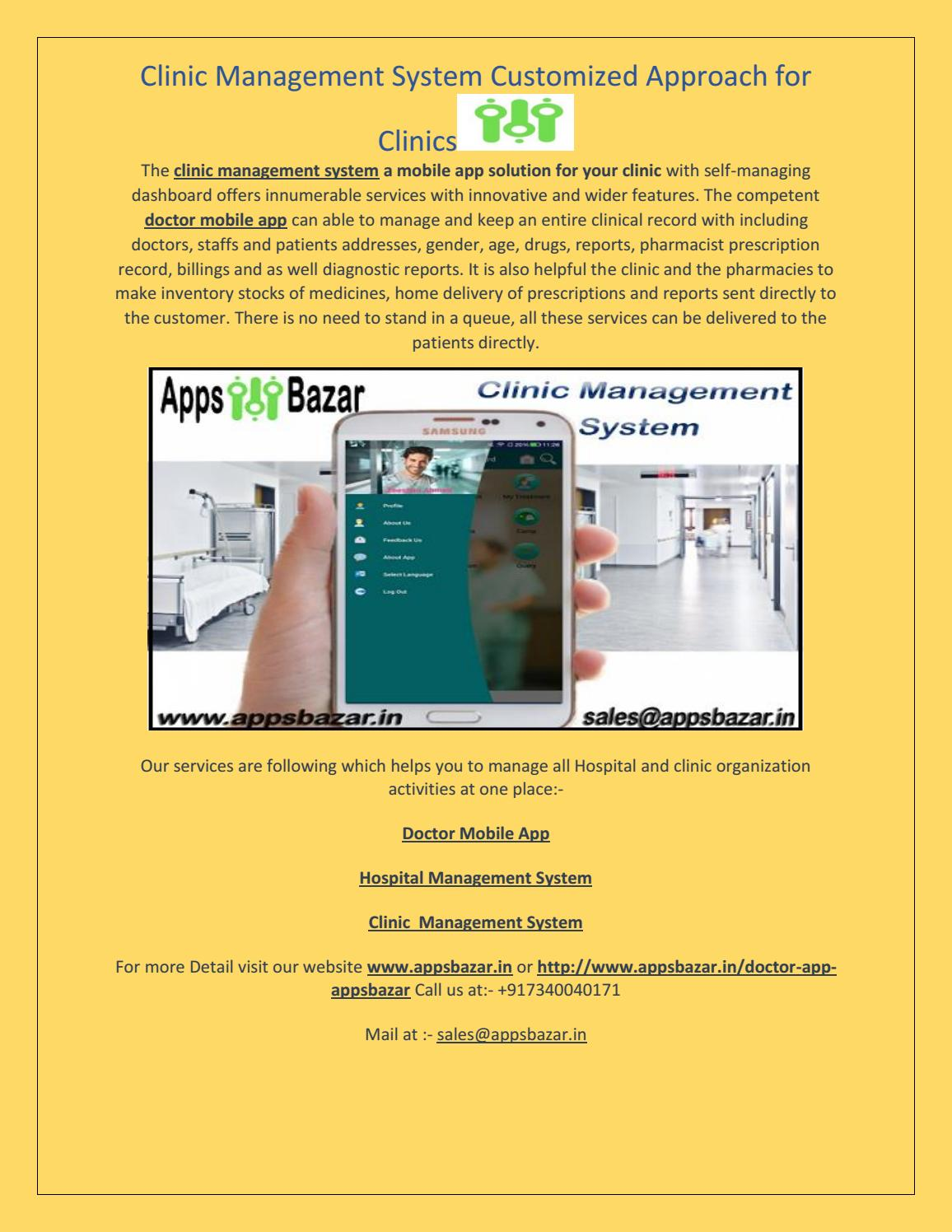 Clinic Management System Customized Approach for Clinics by
