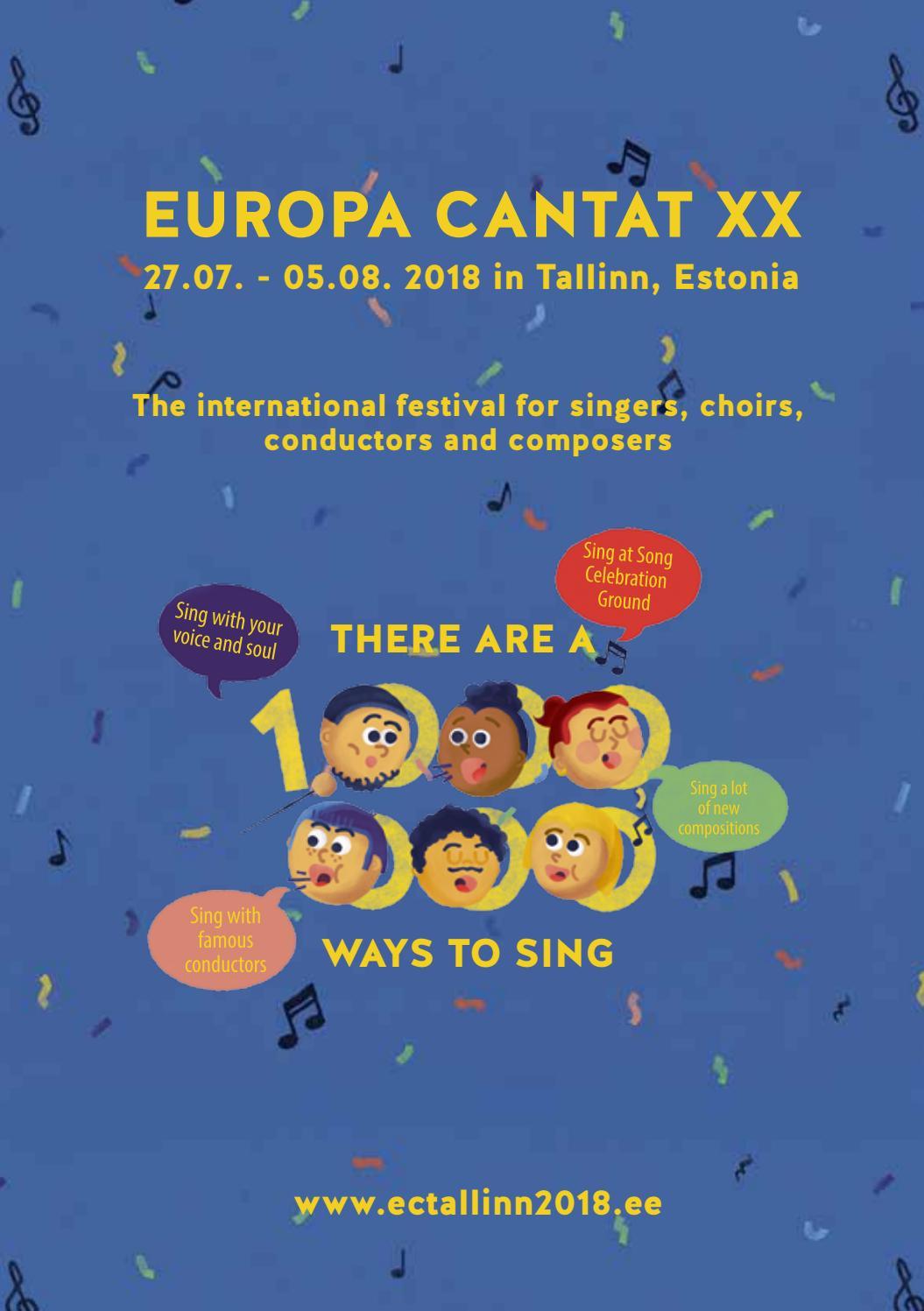 FESTIVAL PROGRAMME BOOKLET: EUROPA CANTAT XX TALLINN by EUROPA CANTAT XX  TALLINN 2018 - issuu