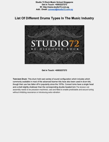 List of different drums types in the music industry by