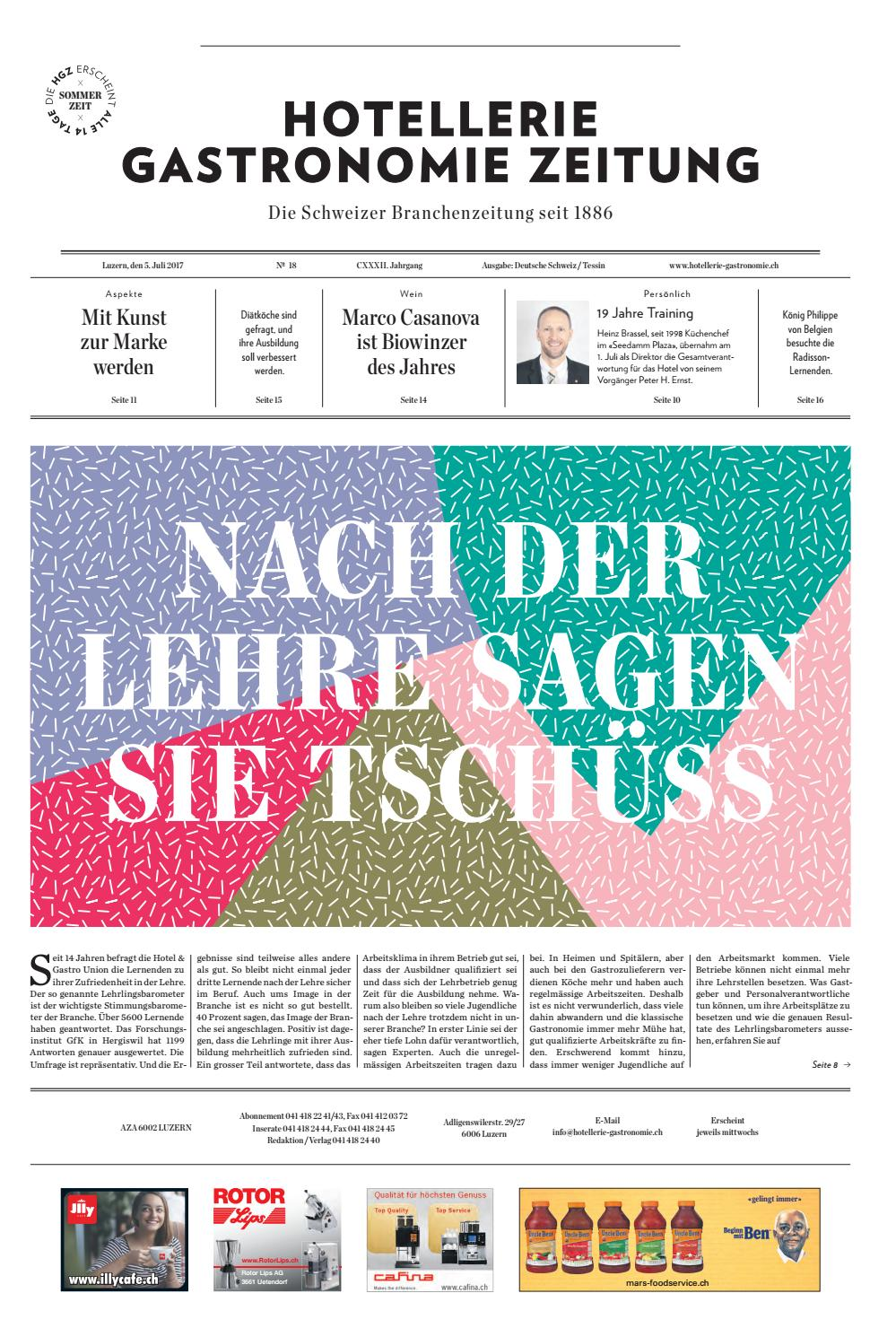 HG-Zeitung 18/2017 by Hotellerie_Gastronomie_Verlag - issuu