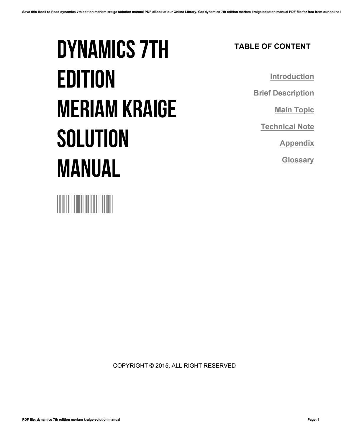 Dynamics 7th edition meriam kraige solution manual by CarlosMichaud3816 -  issuu