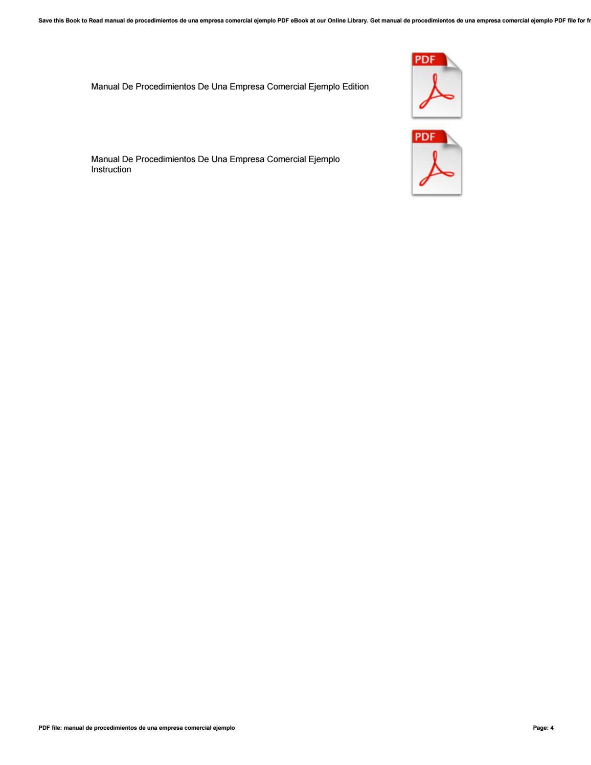 Manual de procedimientos de una empresa comercial ejemplo by  DavidGutierrez4924 - issuu