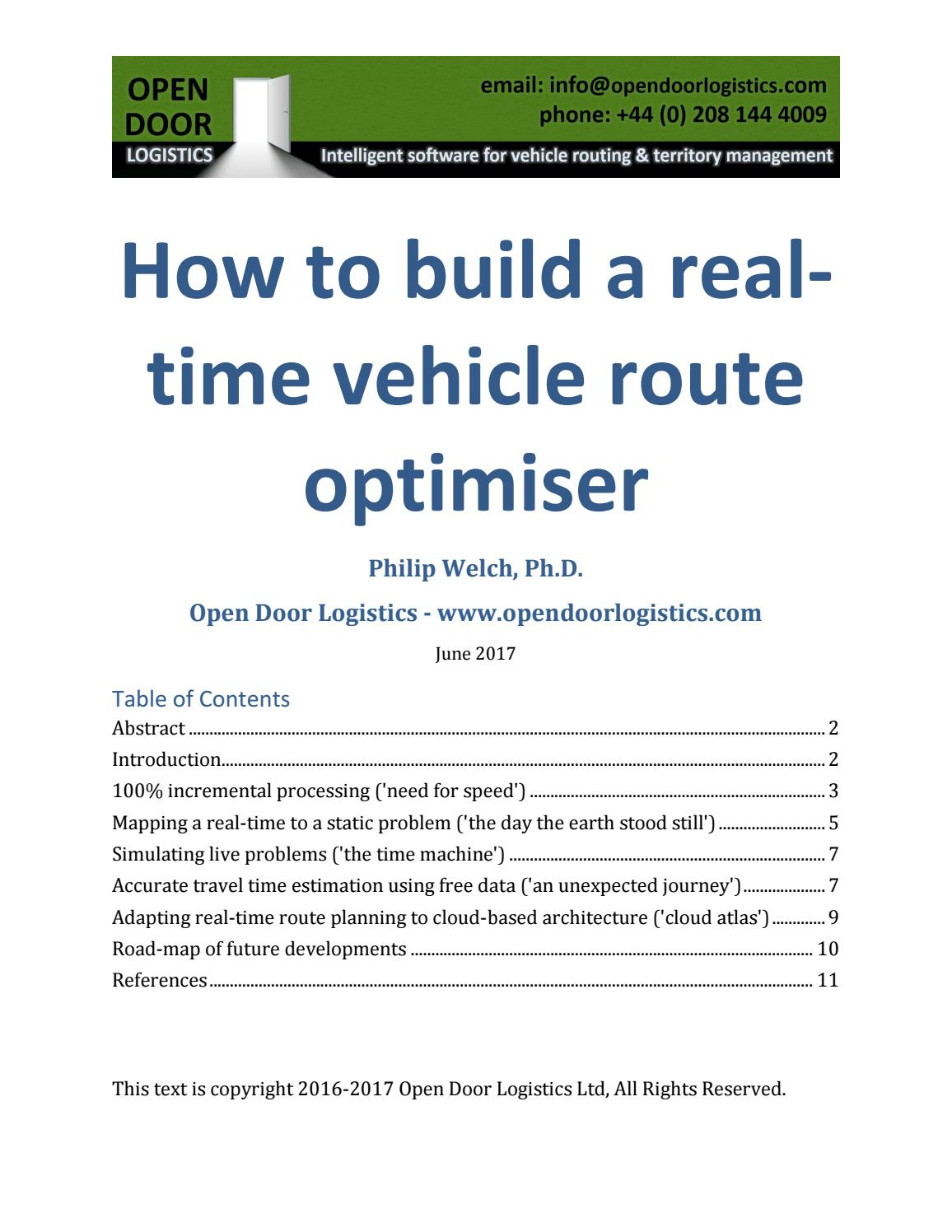 Driving Route Planner Driving Distance Optimizer >> White Paper How To Build A Real Time Vehicle Route Optimiser By