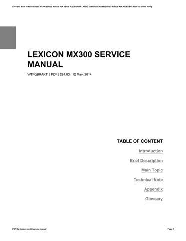 lexicon mx300 service manual by raymond issuu rh issuu com lexicon 960l service manual lexicon mx400 service manual