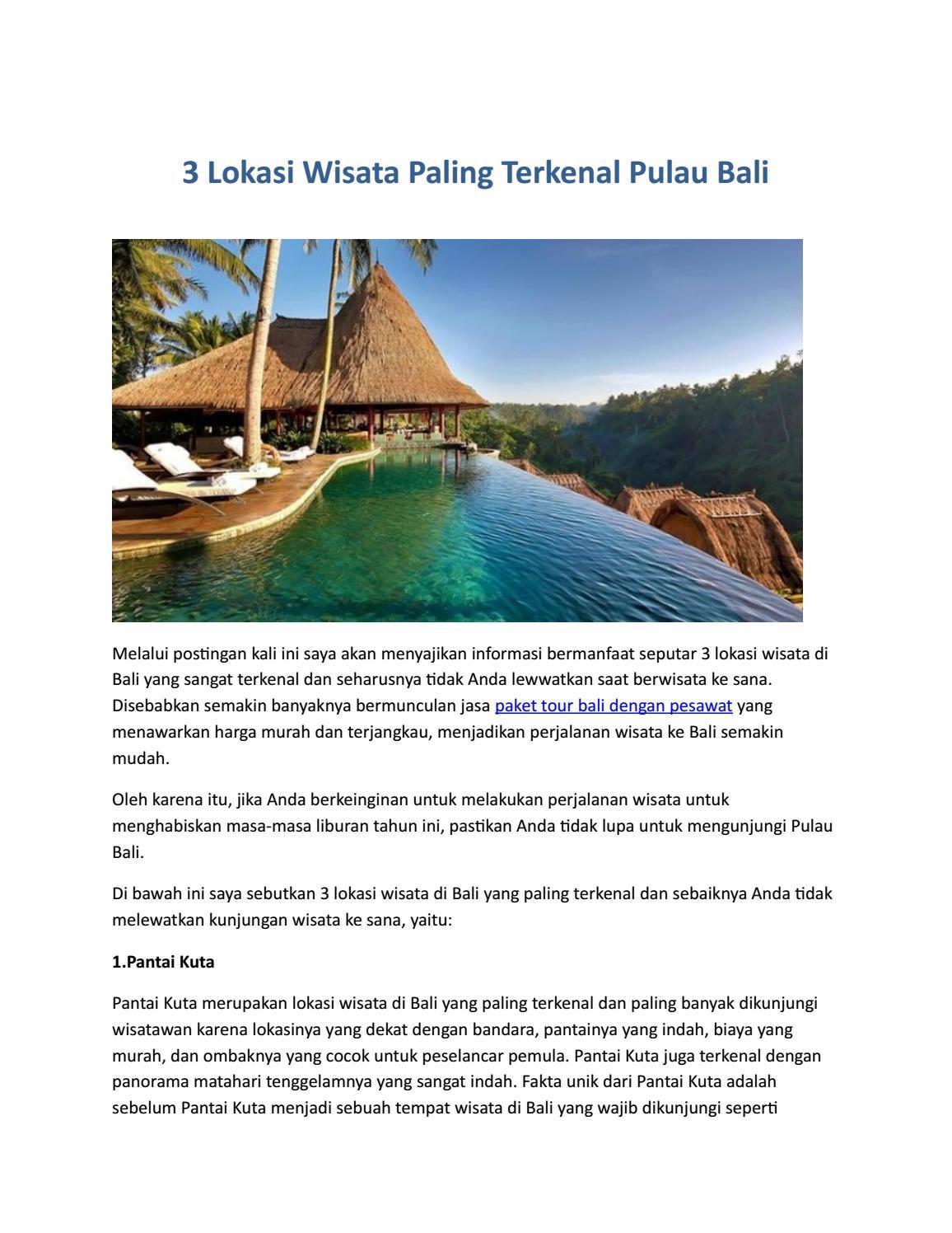 3 Lokasi Wisata Paling Terkenal Pulau Bali By Muhammad