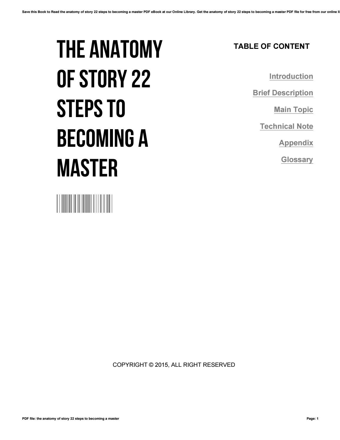 The Anatomy Of Story 22 Steps To Becoming A Master By