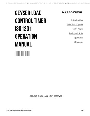 Geyser Load Control Timer Isg Operation Manual By