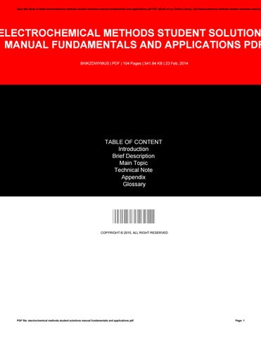electrochemical methods student solutions manual fundamentals and rh issuu com student solutions manual to accompany electrochemical methods fundamentals and applications 2e electrochemical methods fundamentals and applications student solutions manual 2nd edition