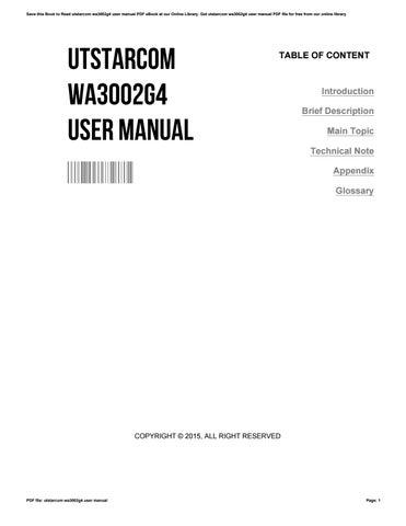 utstarcom wa3002g4 user manual by leisathomas1918 issuu rh issuu com User Manual Template Instruction Manual