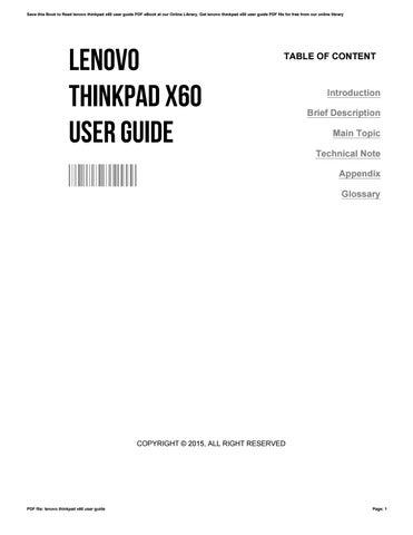 lenovo thinkpad x60 user guide by lauramatthews2680 issuu rh issuu com Lenovo X60 Tablet Lenovo X60 Drivers