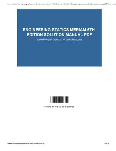 Engineering Mechanics Statics Sixth Edition Solutions Manual Pdf