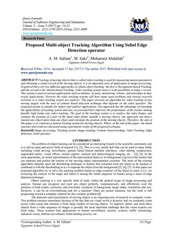 Proposed Multi-object Tracking Algorithm Using Sobel Edge