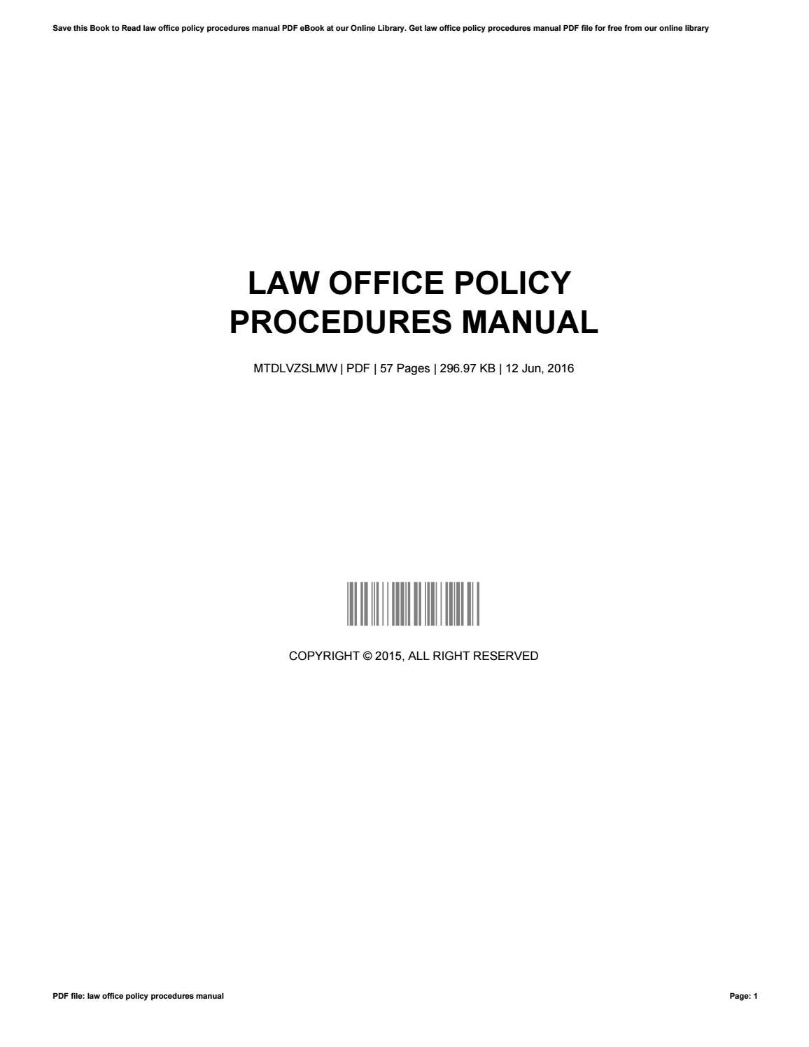 law office policy and procedures manual