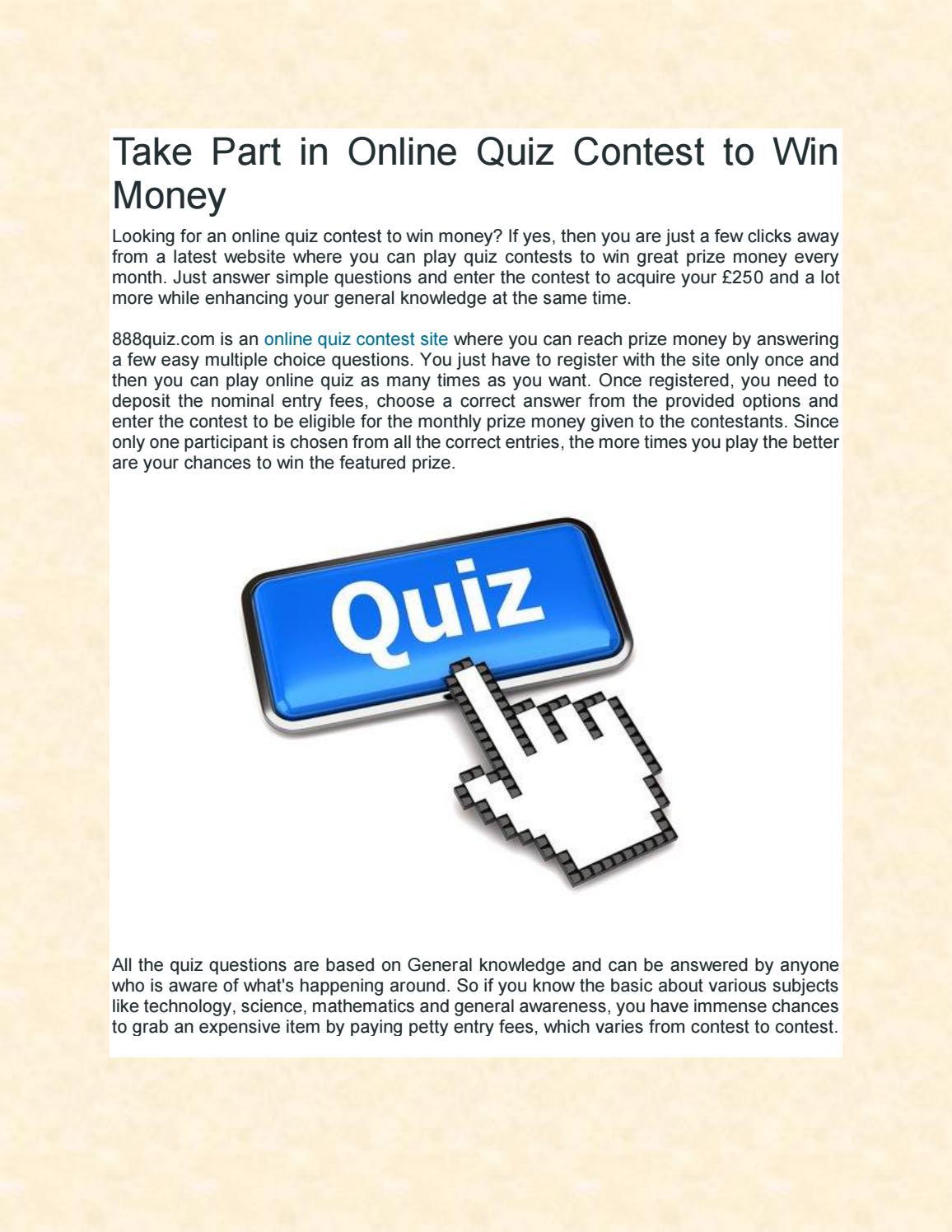 Online quiz contest to win money by 888quiz - issuu