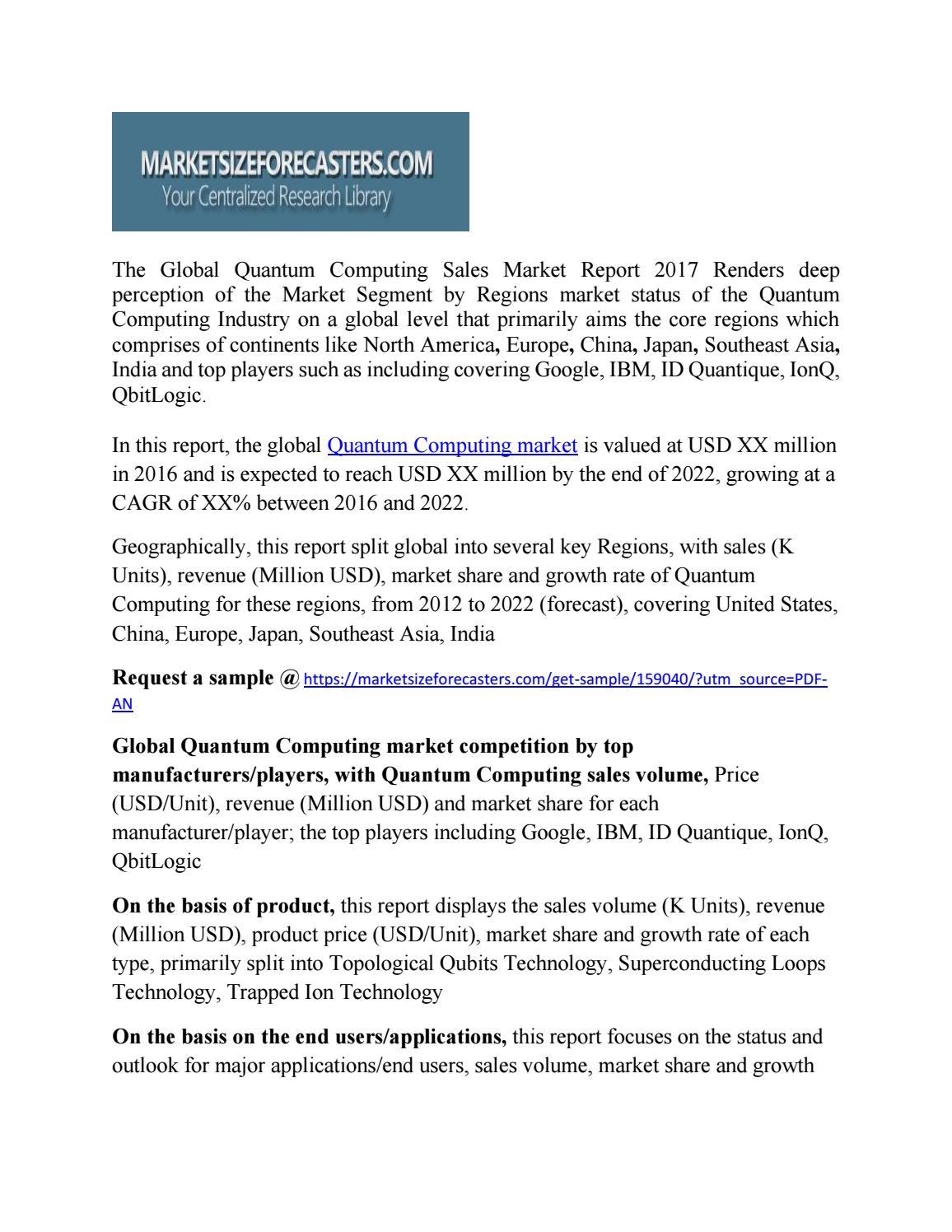 Quantum Computing Market Size Development, Key Opportunity
