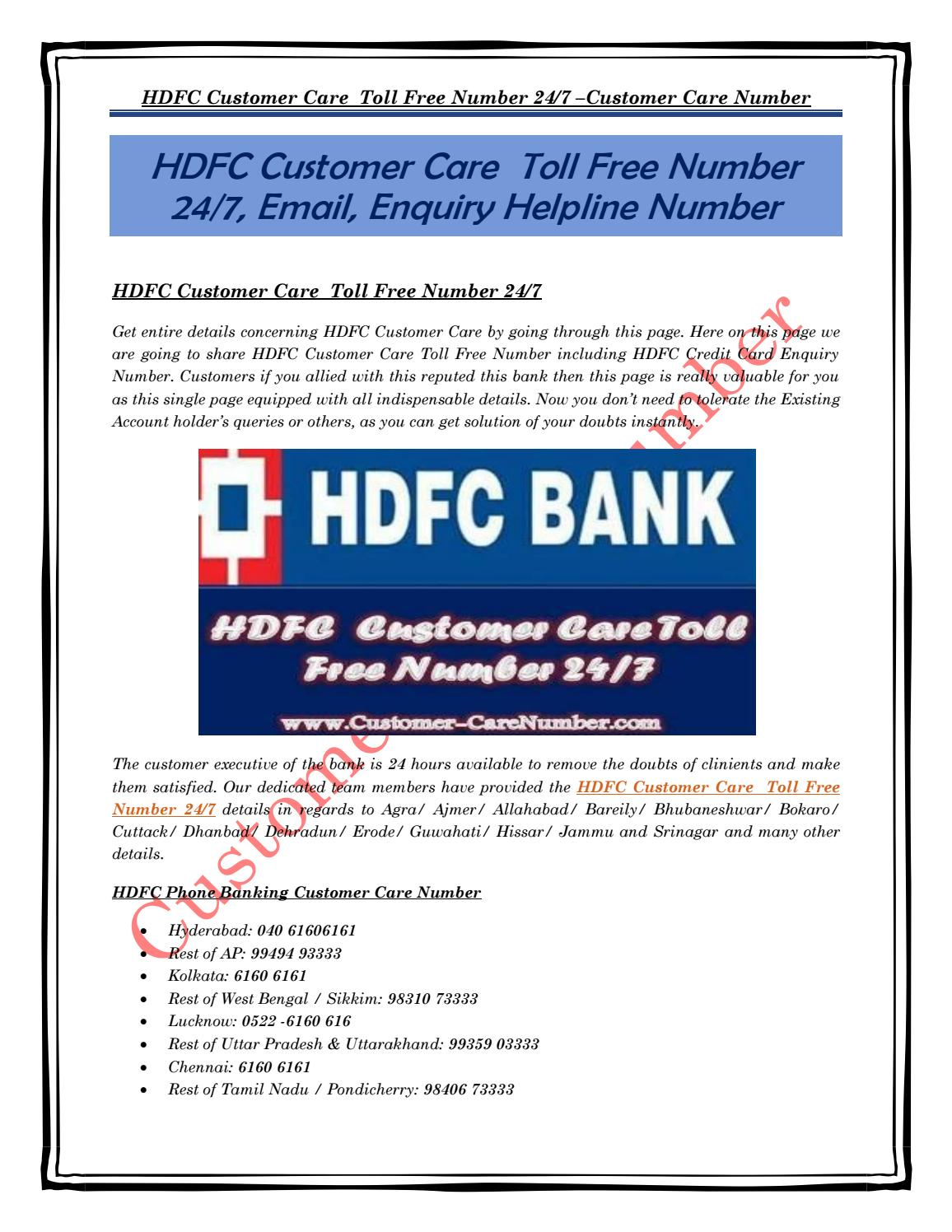 Hdfc forex card customer care toll free number