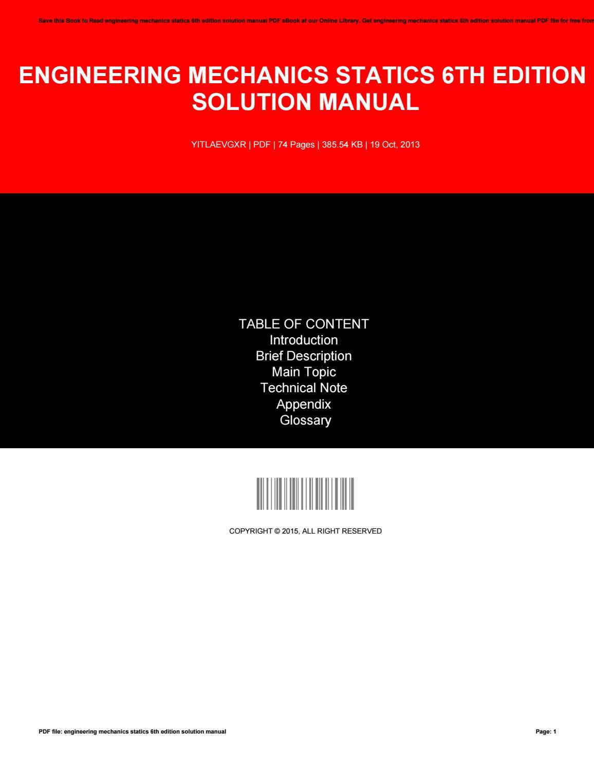 Engineering Mechanics Statics 6th Edition Solution Manual By