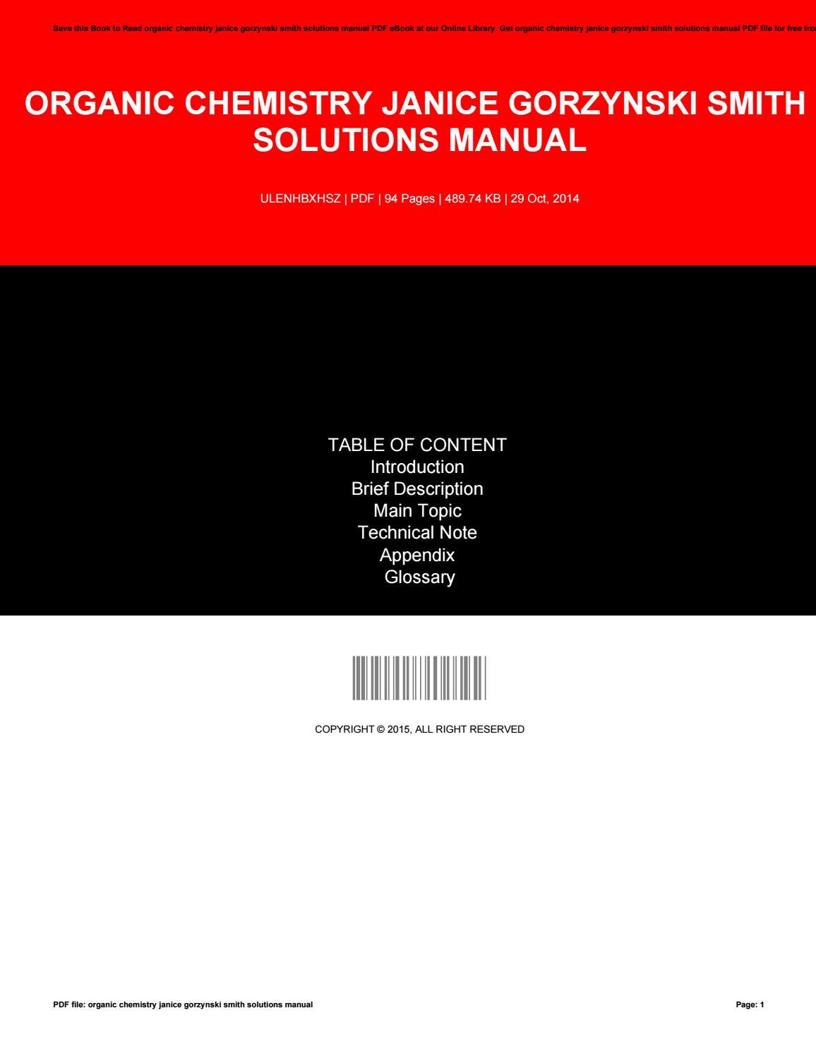 Organic chemistry janice gorzynski smith solutions manual by  ChristopherHuff3676 - issuu