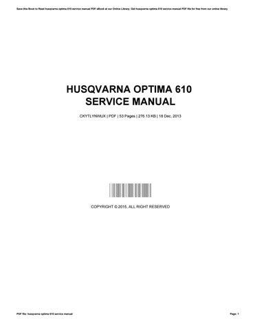 husqvarna optima 610 service manual