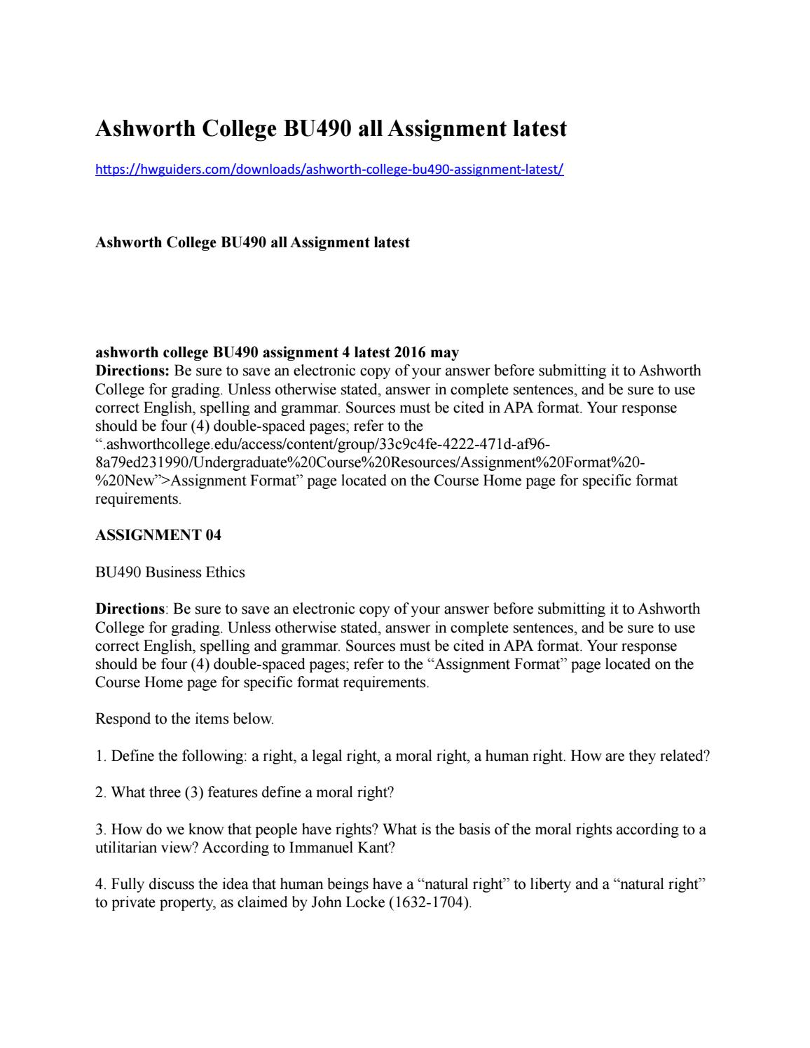 ashworth college bu490 all assignment latest by online homework hlp