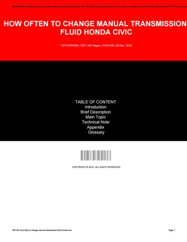 Save This Book To Read How Often Change Manual Transmission Fluid Honda Civic Pdf Ebook At Our Online Library Get