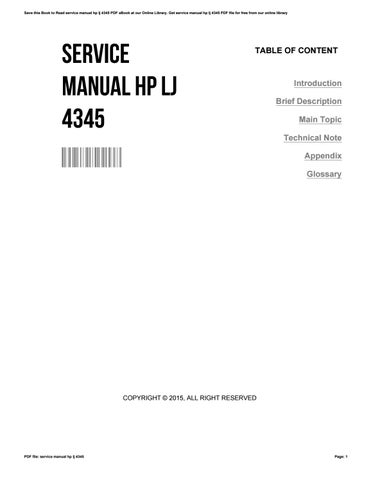 service manual hp lj 4345 by patgrinder4396 issuu rh issuu com hp lj 4345 mfp service manual service manual hp m4345 mfp