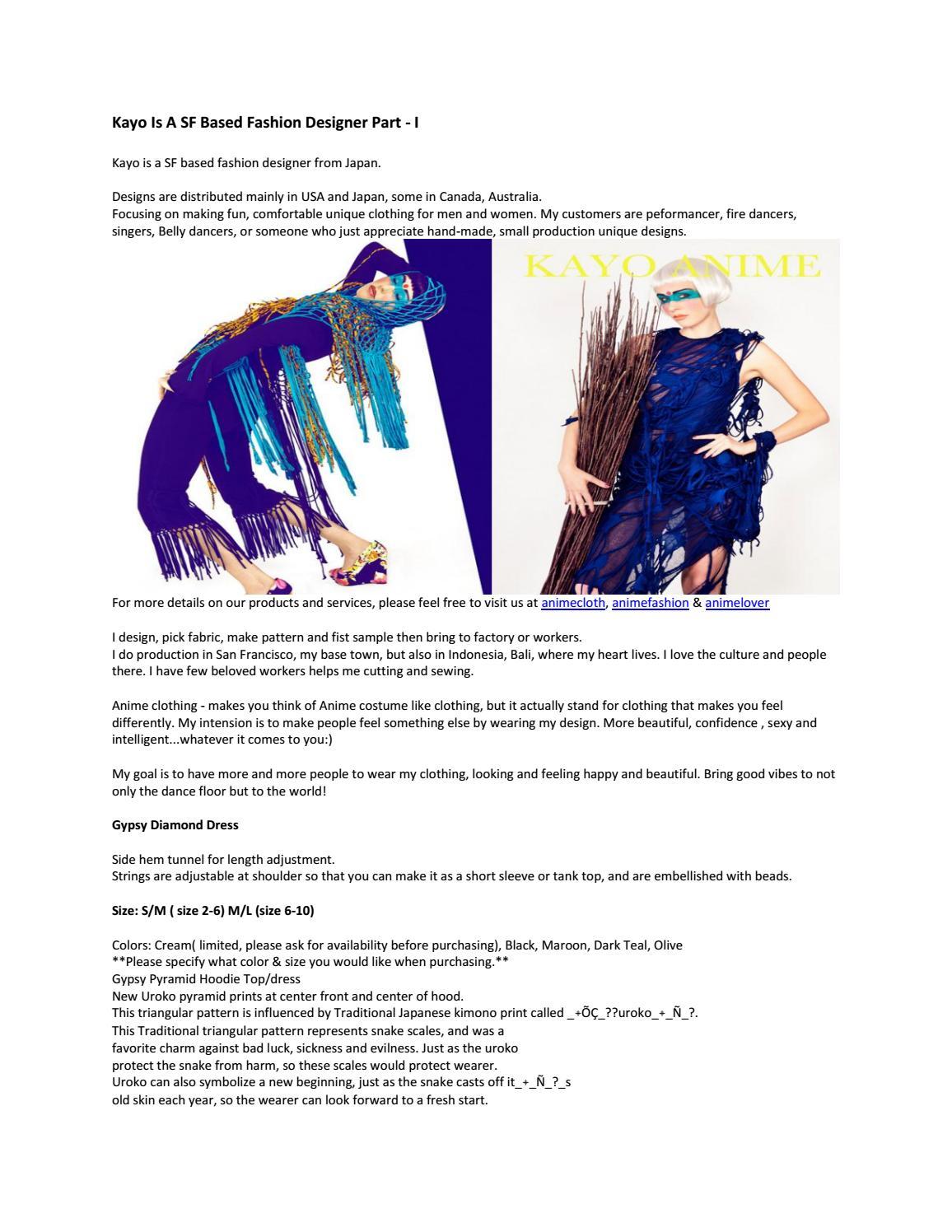 Kayo Is A Sf Based Fashion Designer Part I By Kayo Anime Clothing Myshopify Com Issuu