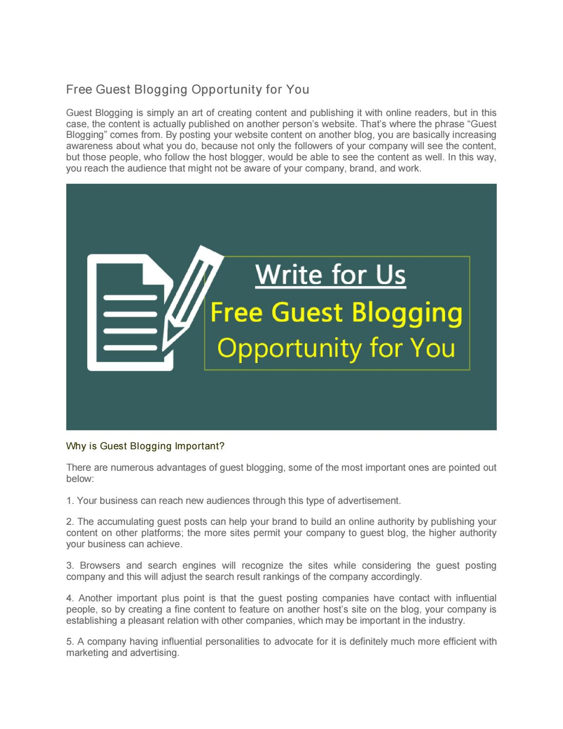 Write for us - free guest blogging opportunity for you by